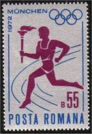 Romania 1972 MNH XF Olympic Games, Flame, Torch  Mi 3043 - Unused Stamps