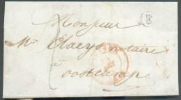 LAC D'OSTENDE Le 24 Août 1848 + Boîte E De LEFFINGHE Vers Oostcamp Via Brugge; Port De 2 Décimes - 8790 - 1830-1849 (Belgique Indépendante)