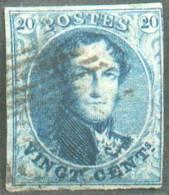 N°4 - Médaillon 20 Centimes Bleu, Retouche Du Feuillage Gauche, Légèrement Touché à Droite. - 8793 - 1849-1850 Médaillons (3/5)