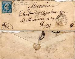 BOURG EN BRESSE  (Ain) PC 472 Sur Yvert N° 14  - Napoléon III  - Variété (55049) - 1849-1876: Klassik