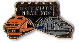 ASSOCIATIONS CULTURELLES - A433 - LES CHEMINOTS PHILATELISTES - TGV SE Et TGVA / FOND NOIR - Verso :RIQUET - TGV