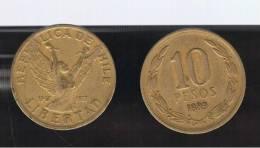 CHILE -  10 Pesos 1989  KM218 - Winged Female Figure - Chile