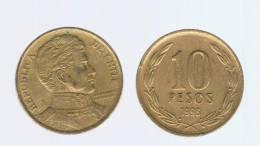 CHILE -  10 Pesos 1996  KM228 - LIBERTADOR. B. O'HIGGINS  - - Chile