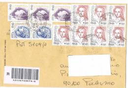 1110- Italia Storia Postale 5.11.02  Raccom. Affrancature Varie  La Donna Nell´Arte - 6. 1946-.. Republik