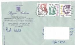 1112- Italia Storia Postale 20.1.04  Lettera Regione Siciliana Affrancata Con Valori  La Donna Nell´Arte - 6. 1946-.. Republik