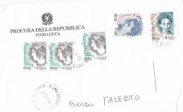 1113- Italia Storia Postale 11.2.04  Lettera Procura Della Repubblica Lucca Affrancata Con Valori  La Donna Nell´Arte - 6. 1946-.. Republic