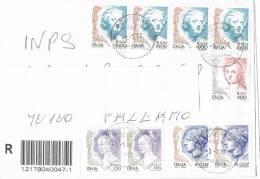 1114- Italia Storia Postale 3.1.02  Racc. Affrancata Con 9 Valori  La Donna Nell´Arte - 6. 1946-.. Republik