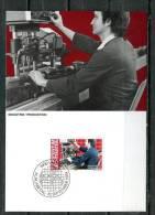 """Liechtenstein 1984 Maxicart  Mi.Nr.851 ,MK """" Berufe:Maschinenarbeiter,Produktion"""" 1 MK Used - Fabriken Und Industrien"""