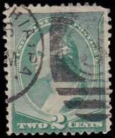 United States Scott # 213, 2¢ Green (1887) George Washington, Used - Oblitérés