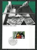 """Liechtenstein 1984 Maxicart  Mi.Nr.849 ,MK """" Berufe:Handel,Banken-Kassierer,Zahlungsschalter"""" 1 MK Used - Factories & Industries"""