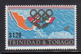 Trinidad & Tobago MNH Scott #143 $1.20 Map Of Mexico, Flags Of Mexico And Trinidad & Tobago - Olympic Games Mexico City - Trinité & Tobago (1962-...)