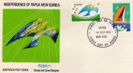 AUSTRALIA Australie 1975 Independence Of Papua New Guinea Yv 578/579 FDC - Premiers Jours (FDC)