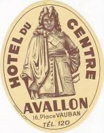 FRANCE AVALON HOTEL DU CENTRE VINTAGE LUGGAGE LABEL - Hotel Labels