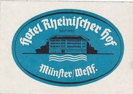 GERMANY MUNSTER HOTEL RHEINISSCHER HOF VINTAGE LUGGAGE LABEL - Hotel Labels