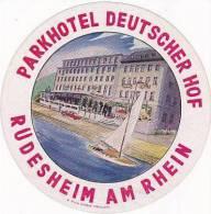 GERMANY RUDESHEIM PARKHOTEL DEUTSCHER HOF VINTAGE LUGGAGE LABEL - Hotel Labels