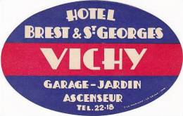 FRANCE VICHY HOTEL BREST & ST GEORGES VINTAGE LUGGAGE LABEL - Hotel Labels