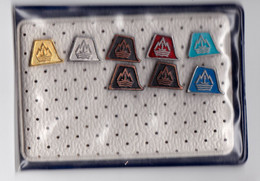 Set Of 4 Different Colour Pins Splošna Plovba Piran, Slovenia. Transport, Boats, Shipping Company, Old, Small Pins - Badges