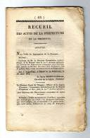 Ced , Recueil Des Actes De La Préfecture De La Charente , 1814 , N° 65 , 18 Pages , Frais Fr : 1.60€ - Decrees & Laws