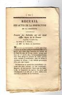 Ced , Recueil Des Actes De La Préfecture De La Charente , 1814 , N° 72 , 10 Pages , Frais Fr : 1.60€ - Décrets & Lois