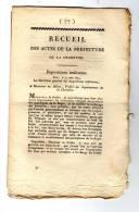 Ced , Recueil Des Actes De La Préfecture De La Charente  , Poids Et Mesures , 1814 , N° 76 , 4 Pages - Décrets & Lois