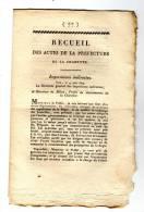 Ced , Recueil Des Actes De La Préfecture De La Charente  , 1814 , N° 77 , 6 Pages , Frais Fr : 1.60€ - Décrets & Lois