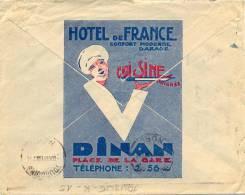 HOTEL DE FRANCE DINAN COTES D'ARMOR - CONVOYEUR ST BRIEUC A AVRANCHES + OMec KRAG BD SEUL TOURCOING NORD  8 X 31 - Marcophilie (Lettres)