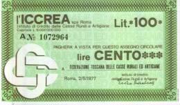 ICCREA - ROMA - Lire 100 - [10] Assegni E Miniassegni