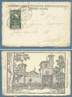 1911 - UNITA' D'ITALIA  5c. ISOLATO SU CARTOLINA  RICORDO E CON ANNULLO DELLA ESPOSIZIONE - VIAGGIATA A NAPOLI - Marcofilía