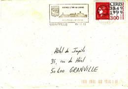 LSI 3233 Flamme Temporaire Granville Barres De Tri Pli Local - Marcophilie (Lettres)