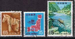 Japan 1995, Michel #  939, 992,, 1002 + 1005 O - 1989-... Kaiser Akihito (Heisei Era)