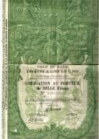 """OBLIGATION Au PORTEUR De MILLE Francs """"VILLE De PARIS"""" 1929 - Actions & Titres"""