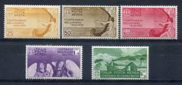 1935 - ITALIA-P.  AEREA- BELLINI -5 VAL. M.L.H. - Nuevos