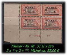 Memel - Mi. Nr. 31 II X Bru - Klaipeda