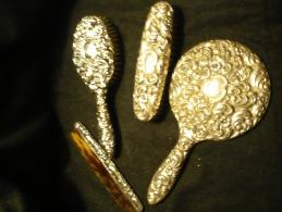 Frisierset-4 Teilig Silber Gestempelt Um 1910 - Silberzeug
