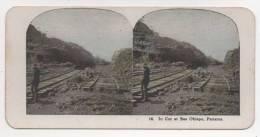 Photo Stéréoscopique (stéréo) - PANAMA - Ligne De Chemin De Fer - Fotos Estereoscópicas