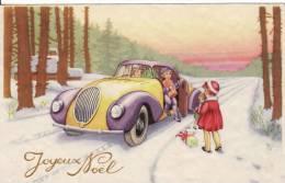 """Carte Postale Fantaisie """"Joyeux Noël""""-ENFANT Dans VOITURE-CABRIOLET- VOIR 2 SCANS - - Voitures De Tourisme"""