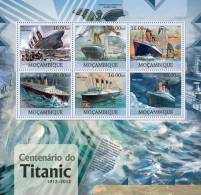 MOZAMBIQUE 2012 ** KB M/S 6v Titanic Centenary A42 - Maritime