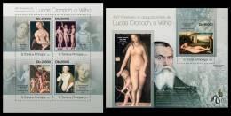 S. TOME & PRINCIPE 2013 - Lucas Cranach - YT 3972-5 + BF605; CV = 29 € - Desnudos