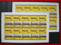 GRENADINES OF ST.VINCENT / 7 COLOR PROOF SHEETS  / 15 Cts. / 3 SCANS / Locomotive / Imperforated / BEQUIA / TRAINS - St.Vincent & Grenadines