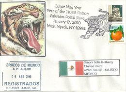USA. Le Tigre, Année Lunaire,  Enveloppe Souvenir West Nyack ,  New-York, Lettre Adressée Au Mexique - Nouvel An Chinois