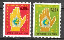 A0592 Zaire 1973, SG823-4, 50th Anniversary Of Interpol (police)  MNH - 1971-79: Ungebraucht