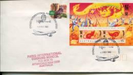 (900) Australia Cover - Australie - Sydney International Airport Special Postmarks On Mini Sheet - Australie
