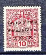 Venezia Giulia 1918 SS 1 N. 4 H 10 Lacca MNH - Occupation 1ère Guerre Mondiale