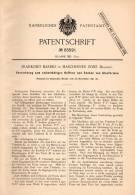 Original Patentschrift - F. Bardez In Maschinner Zone , Belgium , 1891 , Apparat Für Glasform , Glas , Glasbläser !!! - Glass & Crystal