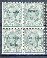 Venezia Giulia 1918-19 SS 2 N. 21 C. 5 Verde QUARTINA MNH - Venezia Giulia