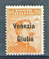 Venezia Giulia 1918-19 SS 2 N. 23 C. 20 Arancio MNH - Venezia Giulia
