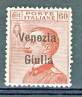 Venezia Giulia 1918-19 SS 2 N. 28 C. 60 Carminio MNG (senza Gomma)- Se MNH Cat € 600 - Venezia Giulia