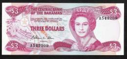 BAHAMAS  P44  3  DOLLARS  1974 (1984)     UNC. - Bahamas