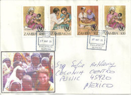 ZAMBIE. Vaccinations & Soins Des Enfants Sur Lettre Adressée Au Mexique, Deux Photos Recto-verso - Medizin