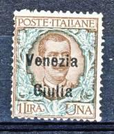 Venezia Giulia 1918-19 SS 2 N. 29 Lire 1 Bruno E Verde MNG (SENZA GOMMA) - Venezia Giulia